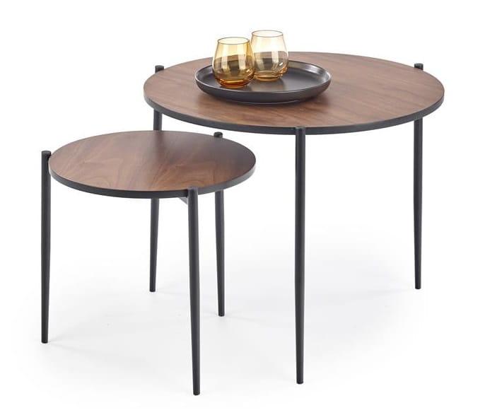 Industrialne stoliki kawowe, komplet dwóch ław loft – Umeblowana.com